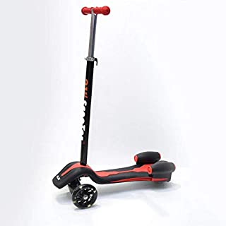 A three-wheeled land scooter with a 6-year-old folding foot