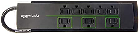 Amazon Basics 8-Outlet Power Strip Surge Protector, 4,500 Joule - 6-Foot Cord, Black/Green