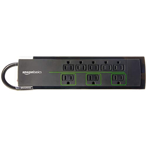 Big Save! AmazonBasics 8-Outlet Power Strip Surge Protector | 4,500 Joule, 6-Foot Cord