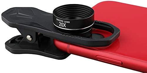 Lente macro 4K HD 20x, para iPhone, Samsung, Pixel, BlackBerry etc., con clip, lente de teléfono celular (20x)