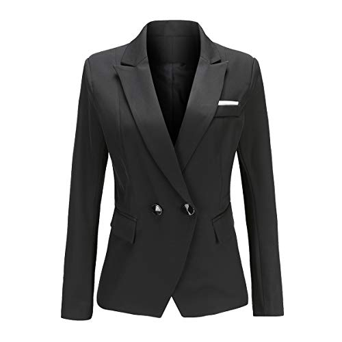 YYNUDA dames Blazer Slim Fit werk Office Lange mouwen Blazer Jas Double Breasted pak