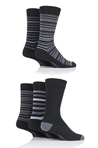 FARAH® Herren Streifen Socken Packung mit 5 Schwarz/Holzkohle 39-45
