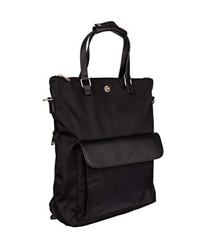 SIX Damen Rucksack in schwarz mit goldenen Details, wasserabweisender Stoff mit veganen Kunstleder Applikationen (726-836)