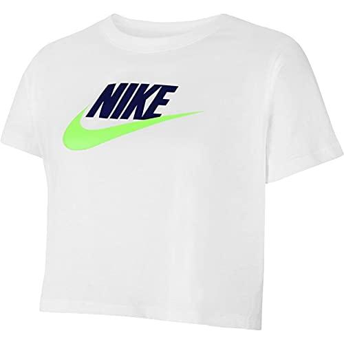 NIKE G NSW tee Crop Futura T-Shirt, Blanco/Blue Void/Lime Glow, M Niña