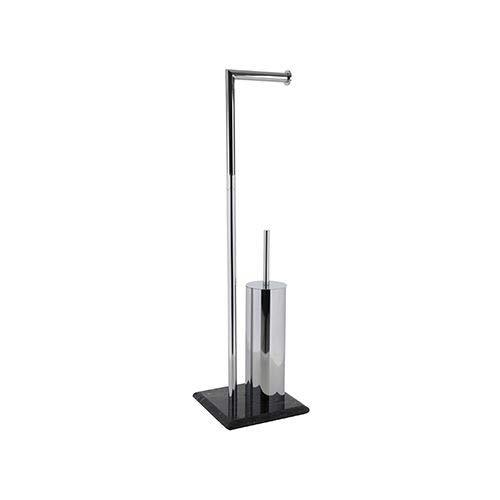 Ribelli Toilettenpapierhalter freihstehend mit Klobürste WC Garnitur Rollenhalter Papierhalter Toilettenbürste Ständer Verschiedene Ausführungen (Garnitur 1)