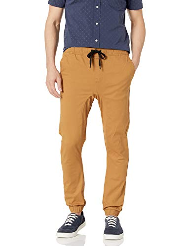 Southpole Men's Basic Stretch Twill Jogger Pants-Reg and Big & Tall Sizes, Tobacco, Small