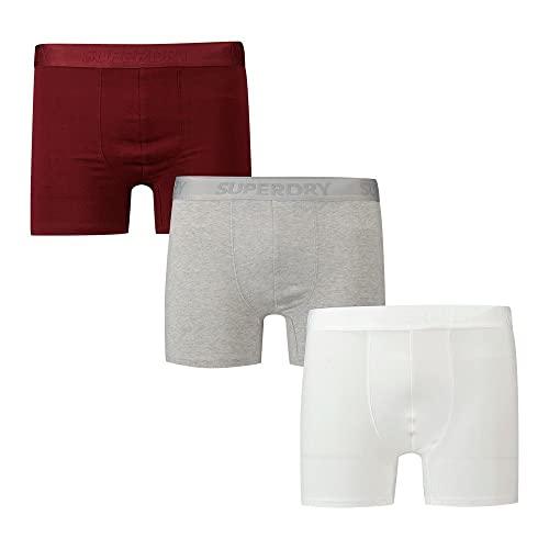 Superdry Mens M3110082A Boxer Shorts, Deep Port/Grey Marl/Optic, XXL