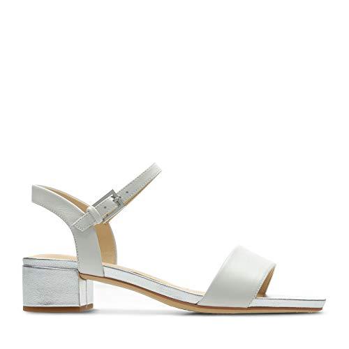 Clarks Damen Orabella Iris Riemchensandalen, Weiß (White Combi Leather), 39 EU
