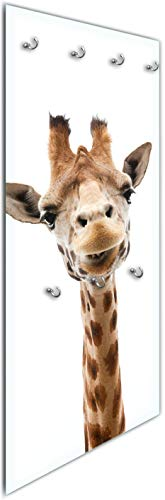Wallario Wandgarderobe aus Glas in Größe 50 x 125 cm in Premium-Qualität, Motiv: Giraffenkopf | 7 Kleiderhaken zum Aufhängen von Jacken