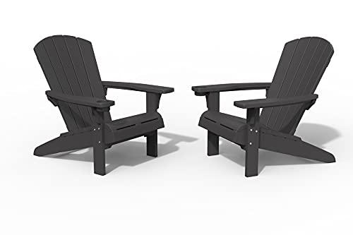 Keter Furniture Patio Chairs with Cup Halter – perfekt für Strand, Pool und Feuerstelle, Kunststoff, grau