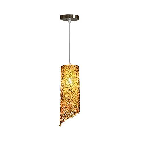 Postmodern hänge ljus, cylindrisk ljuskrona, färgbelysning deco yta montering kristall tak hängande lampa, prydnad hängande ljus för vardagsrum, kök (Färg : Gold)