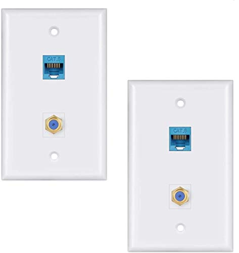 Ethernet Coax Wall Plate 2Pack,1 Cat6 Ethernet Port and 1 Gold-Plated Cable TV Coax F Type Port Wall Plate (White)