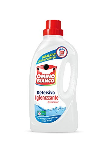 Omino Bianco - Detersivo Lavatrice Igienizzante Liquido, Igienizza i Capi e Rimuove Germi e Batteri, 30 Lavaggi, 1500 ml