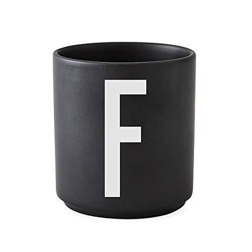Design Letters Tasse en porcelaine personnelle A-Z (NOIR) - F