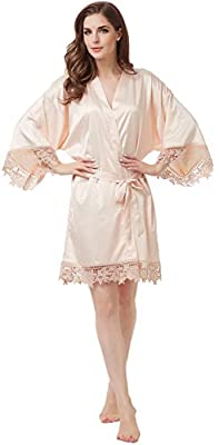 Women's Matte Satin Kimono Wedding Robe for Bride and Bridesmaid with Lace Trim One Size White