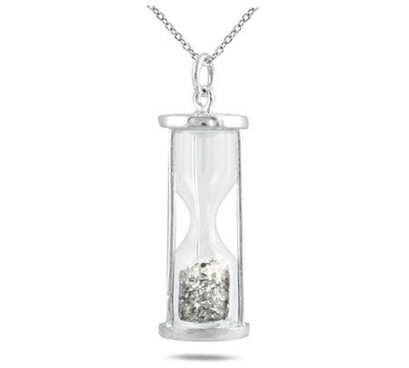Natural Diamond 0.50 Ct Time in Bottle Dust Hourglass Pendant .925 Sterling Silver
