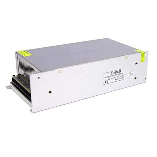 Fuente de alimentación conmutada Sunnyflowk 12V 10A 15A 20A 30A 40A 50A 60A 100W 120W 150W 200W 240W 350W 500W 600W 720W 800W 1000W para Luces LED (Blanco (12v (1000w)))