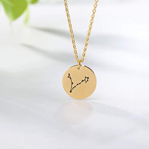 Star Zodiac Sign 12 Constellation Necklaces For Women Men Kids Gold Chain Aries Leo Taurus Gemini Cancer Choker Birthday Gifts