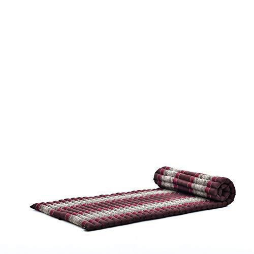 Leewadee Rollbare Thaimatte, 200x76x5 cm, Gästematratze Schlafmatte Yogamatte Massagematte Ökologisches Naturprodukt Thai Matte, Kapok, braun rot