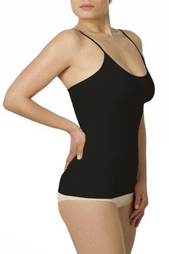 SLEEX Shapewear Figurformendes Damen Unterhemd (mit feinen Traegern), Schwarz, Groesse L/XL - Shapewear Damen Bauch-Weg