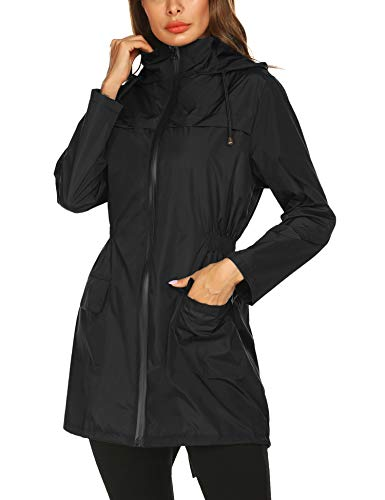 Fashion Rain Coat Plus Size Waterproof Lightweight Outdoor Cycling Packable Hoodie Lightweight Rainwear Raincoat(Black Zipper)