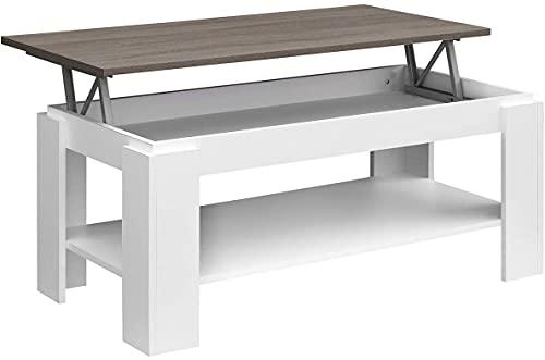 COMIFORT - Mesa de Centro Elevable con Revistero Incorporado, 100x50x43/55 cm, Nuevo Modelo (Blanco/TRUFA)