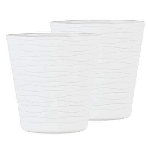 TYMAR Set di 2 vasi da fiori con sottovaso, forma rotonda, per interni, in plastica, leggero, con design ondulato 3D (15 cm, bianco)