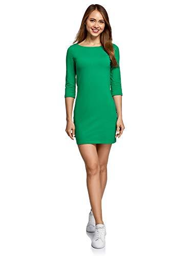 oodji Ultra Damen Baumwoll-Kleid Basic, Grün, DE 32 / EU 34 / XXS