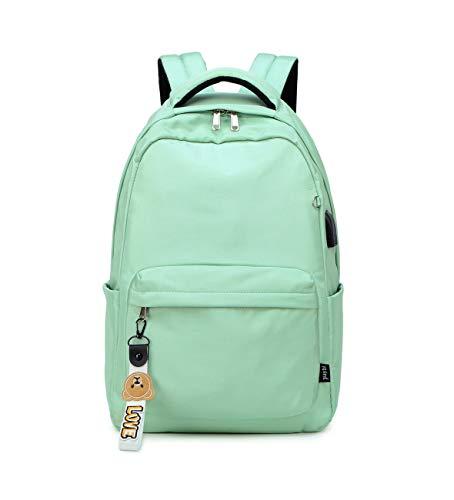 Acmebon Mochila Escolar Clásica para Niña de Color Liso para Adolescentes Verde Claro