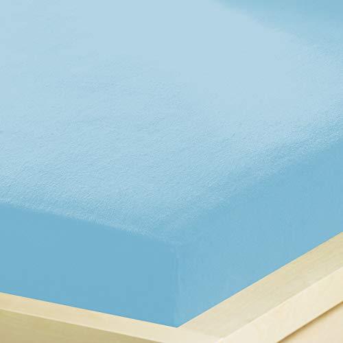 G Bettwarenshop Inkontinenz Spannbettlaken 2In1 • Wasserdicht Aus Weichem Feinbiber • Spannbetttuch Und Matratzenschutz In Einem 140x200-160x200 cm hellblau