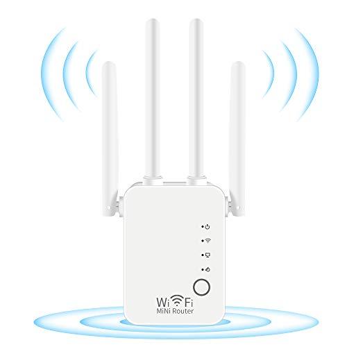 DCUKPST Amplificador Señal WiFi, 300Mbps Repetidores WiFi 2.4 GHz Amplificador Extensor WiFi con Largo Alcance Modo Punto de Acceso/Repeater/Router/Cliente(2 Puerto LAN/WAN,4 Antenas Externas,