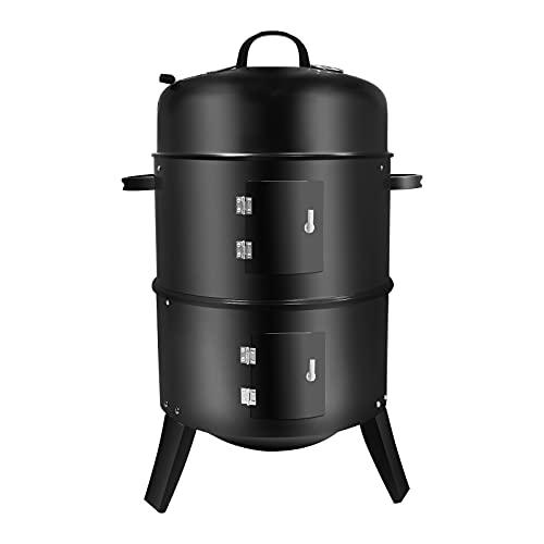 Ahumador de Carbón Vertical 3 en 1, Parrilla para Barbacoa Separable con Termómetro Incorporado y Ventilación Ajustable Fácil de Temperatura para Cocinar al Aire Libre
