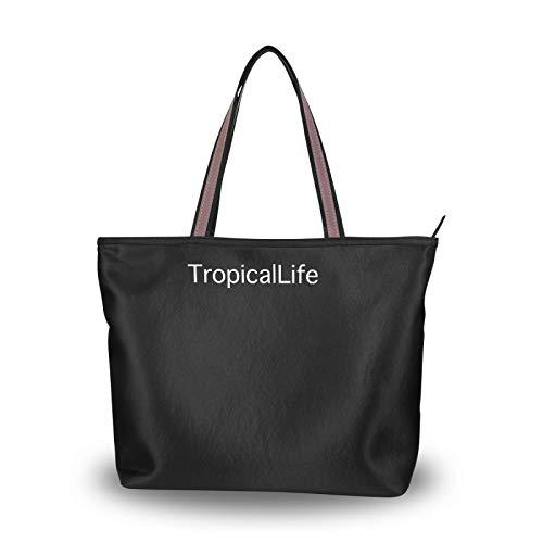 WOLOS - Bolso de lona para mujer, color negro, bolsa de compras, hombro cruzado, cuerpo de señoras casual chic, bolsa reutilizable para las mujeres