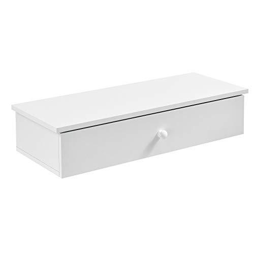 [en.casa] Estante de Pared con Compartimento 60 x 24 x 12,6cm Mesita de Noche de Pared con cajón para Almacenar Blanco