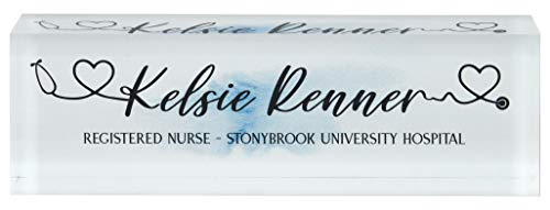 """Infusion Personalized Office Desk Name Plate Acrylic Glass Block (8 x 2.5 x 1.25"""", Nurse - Blue Watercolor)"""