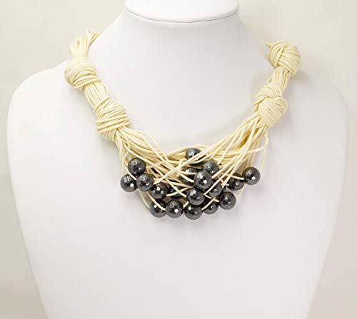 Baumwoll mehrreihige Halskette, mit Hematit facettierten Perlen, Modeschmuck