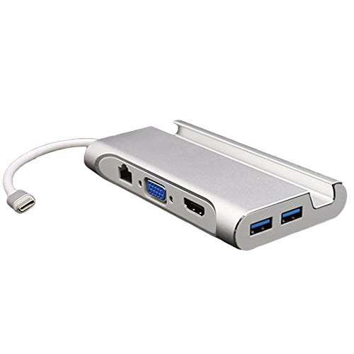 Cobeky USB C Laptop Docking Station USB 3.0 VGA RJ45 PD USB Hub for Laptop Pro Surface (Silver)