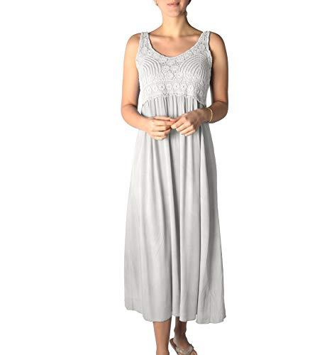 U&F Damen-Kleid mit Spitze I knöchellanges Kleid für Frühling, Sommer & Herbst I langes Freizeit-Kleid I fließender, luftiger Stoff I...