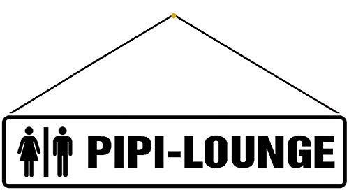 Generisch Cartel de chapa con texto en inglés 'Pipi Lounge', 10 x 46 cm, con cordón
