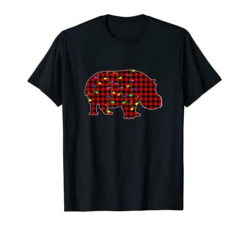 Pijama de Navidad Hipopótamo de Búfalo a cuadros rojos Camiseta