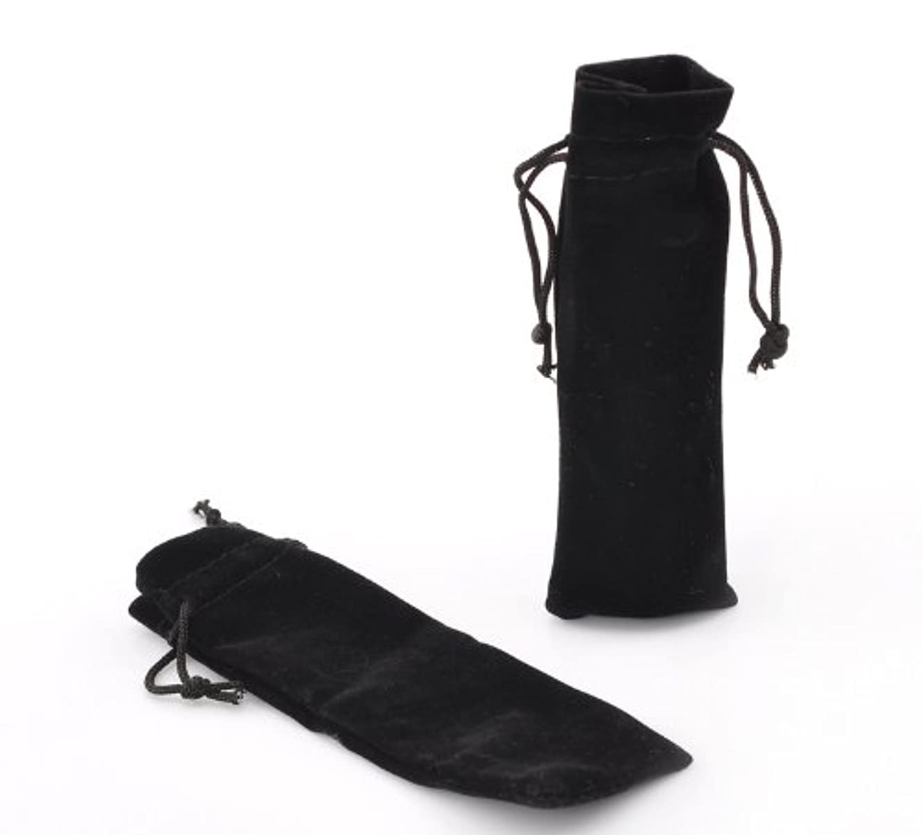 PEPPERLONELY Brand 10PC Black Velvet Drawstring Pouches Jewelry Gift Bags 15.5x5.5cm (6-1/8 x 2-1/8 Inch)