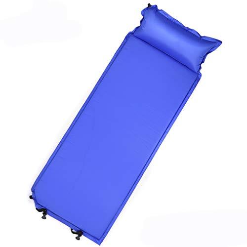 Tapis de couchage avec oreiller Tapis de tente de camping ultra-léger Sac de couchage pour compagnon Coussin anti-humidité Gonflage automatique Coussin à air unique Camouflage ( Color : Blue )