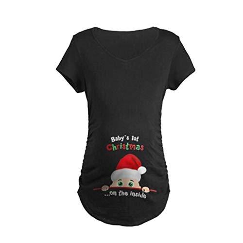WEIMEITE Maternity Cute Funny Tee Manches Courtes Annonce de Grossesse de Noël T-Shirt Noir 2XL