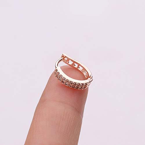 SMXGF 1 Pc Kleine Hoop Gepersonaliseerde Kraakbeen oorbellen for vrouwen Rose Gold Zircon Geometric Hoop Earring Ear Piercing Jewelry (Color : 6)