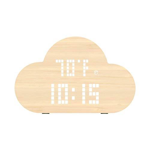 Digitale Alarm Klok, Houten LED Digitale Klok Grote Display, Temperatuur En Vochtigheid, USB Opladen Dimbare Naadloze Pan/Tilt Smart Alarm Klok Ideaal Timer Voor Kinderen, Slaapkamer, Woonkamer, Bibliotheek