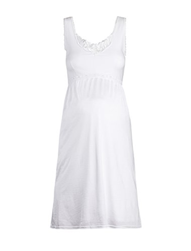 Valair Maternity Full Slip for Pregnant Women - Cotton/Lycra Top, Nylon Bottom (White, 38-39' Full Length)