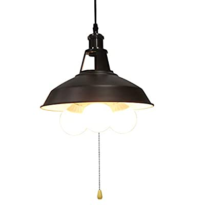 KIRIN Industrial Pendant Light Fixture with Pull Chain, Black Metal Vintage Hanging Lamp Pull String Light Fixture 3 Lights Edison E26 12.20inch