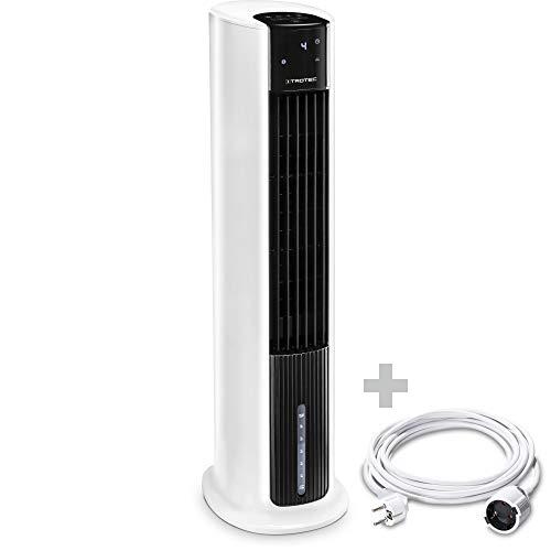 TROTEC Aircooler PAE 30, 3 en 1: Refrigeración por Aire, Ventilación y Humidificación, Temporizador, Modo Nocturno, Portátil, Blanco, Oficina, Hogar Incluye Cable Alargador de PVC de 5 m