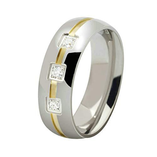 Adisaer Ring Herren Viking Herren Ringe 6Mm Edelstahl (Mit Gratis Gravur) Quadrat Weiß Zirkonia Ehering Silber Größe 57 (18.1) Kostenlos Gravur