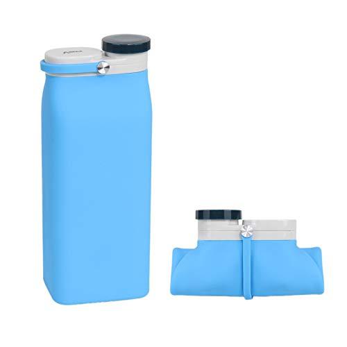 Kakoop Botella Plegable Botellas Agua de Plegables de 19oz-600ml Reutilizable Agua Portátil Agua Botellas para Deporte Senderismo Ciclismo Acampada Camping, Azul